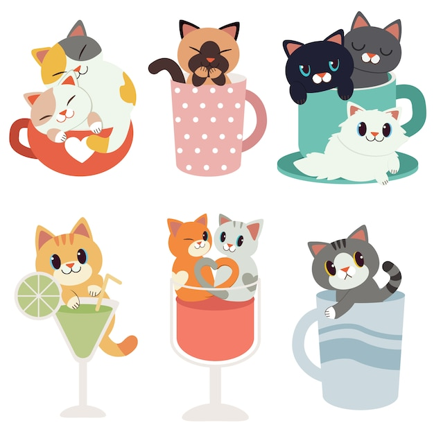 Collection of cute cats sitting in cups, wine and cocktail glass Premium Vector