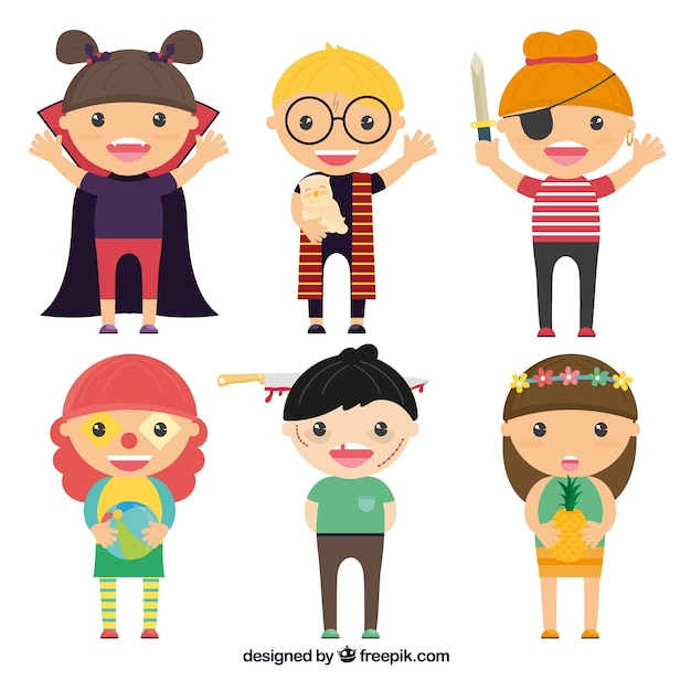Collection Of Cute Children Halloween Disguised Vector Free Download