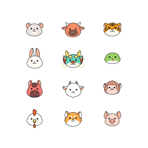 Collection of cute chinese zodiac, kawaii character for  cartoon icon Premium Vector