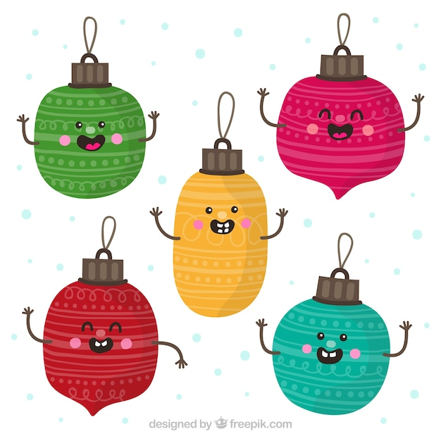 Collection Of Cute Christmas Baubles In Cartoon Style Vector