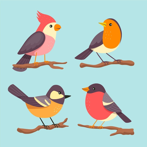 Collection of cute drawn birds Free Vector