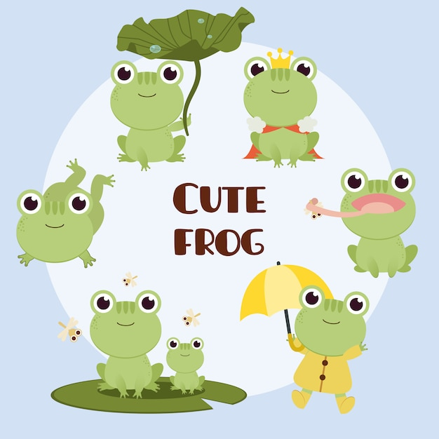 The collection of cute frog with any action. the character of cute frog sitting on lotus leaf and king and frog wear rain coat. Premium Vector
