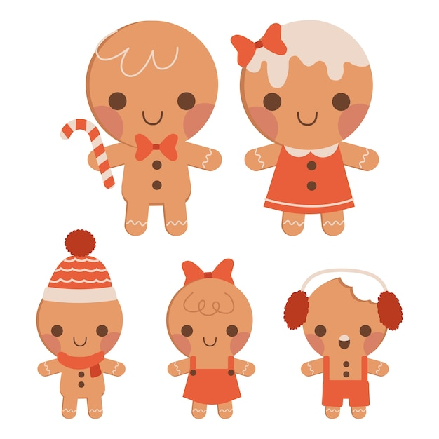 The collection of cute gingerbread family in flat vector style. Premium Vector