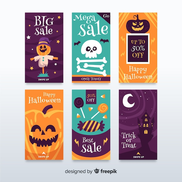 Collection on cute halloween instagram stories Free Vector