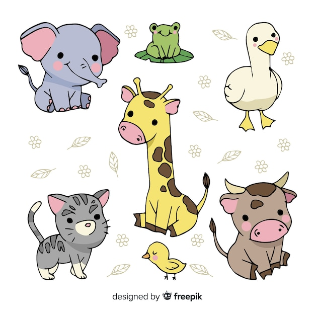 Collection of cute hand drawn animals Free Vector