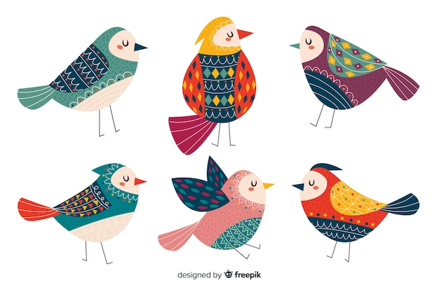 Collection of cute hand drawn birds Free Vector