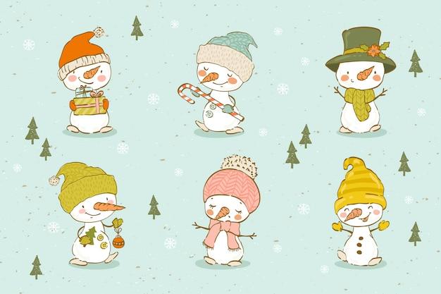 Collection of cute hand drawn snowmen. Premium Vector