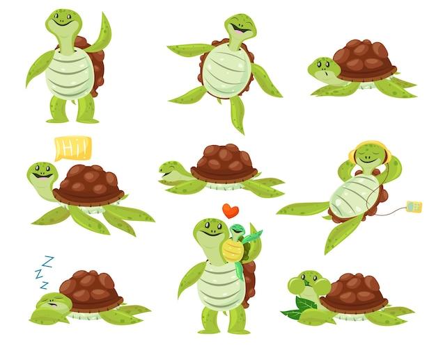 Raccolta di simpatici set di tartarughe felici. personaggio dei cartoni animati divertenti ballare, dormire, mangiare, godersi il tempo libero. Vettore gratuito