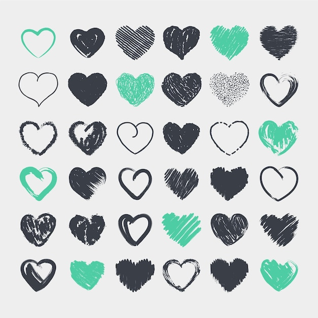 Collection of cute hearts in pencil hand drawn Premium Vector