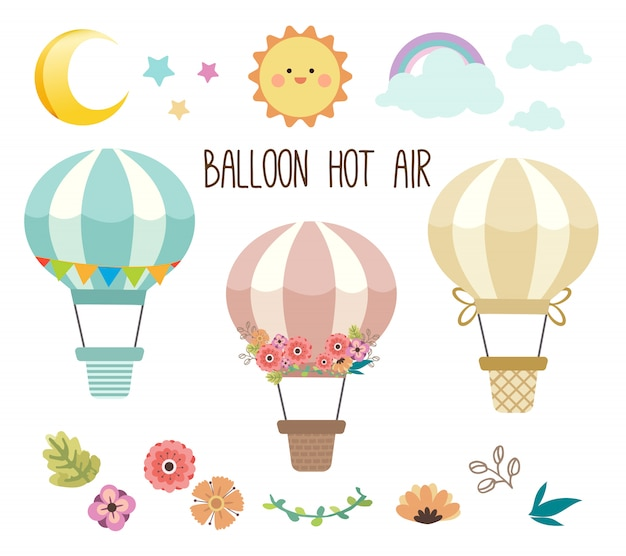 The collection of cute hot air balloon set. Premium Vector