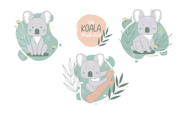 Collection of cute koalas cartoon animals. vector illustration. Free Vector