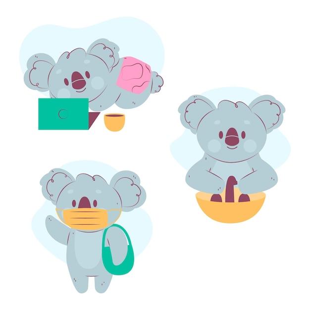 Raccolta di graziosi koala ai tempi del coronavirus Vettore gratuito