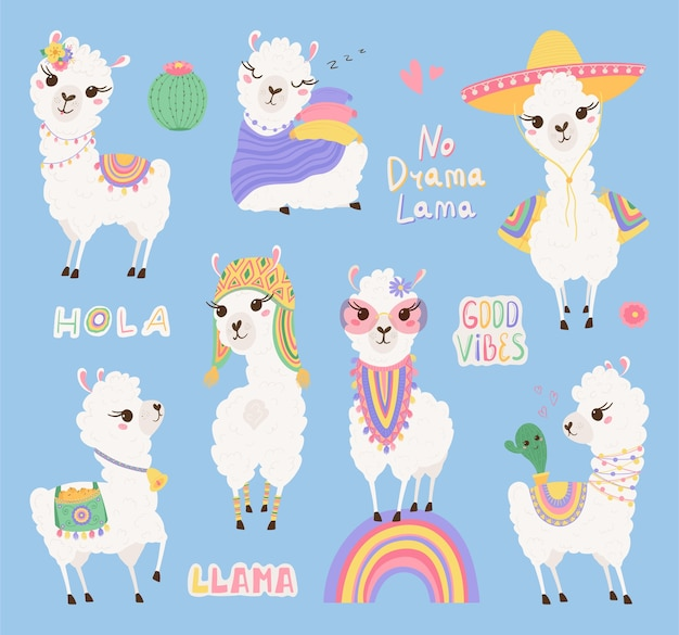 Collection of cute lamas and cacti, lettering in pastel colors. Premium Vector