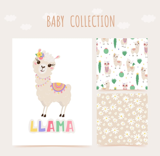 Collection of cute lamas and cacti in pastel colors. seamless pattern and print with baby animals. Premium Vector