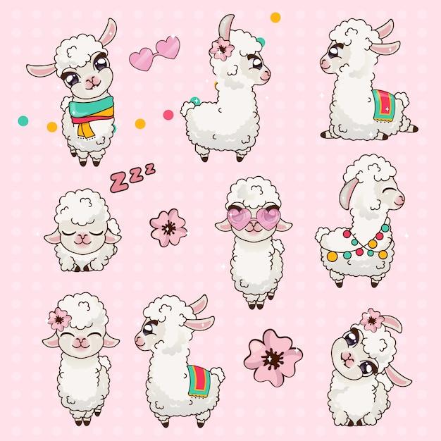 Collection cute llama alpaca vicuna set kawaii Premium Vector
