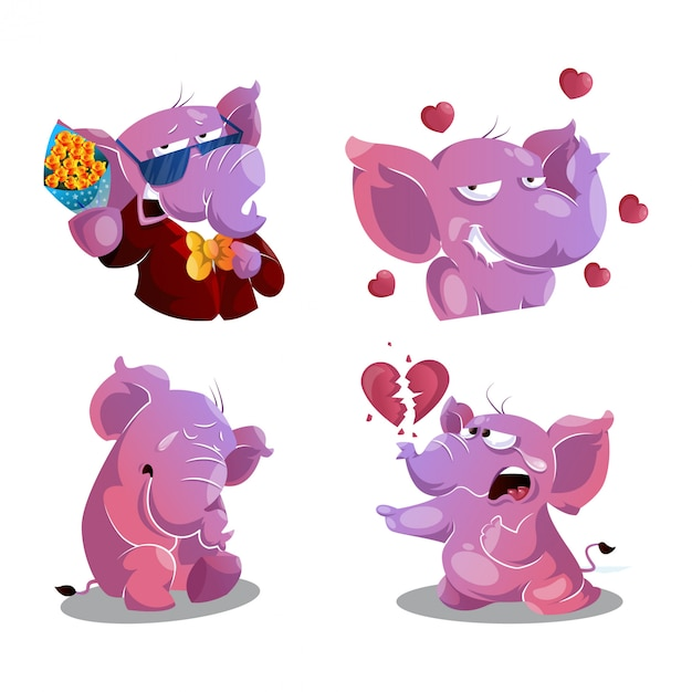 Collection of cute lovable elephants in different poses Premium Vector