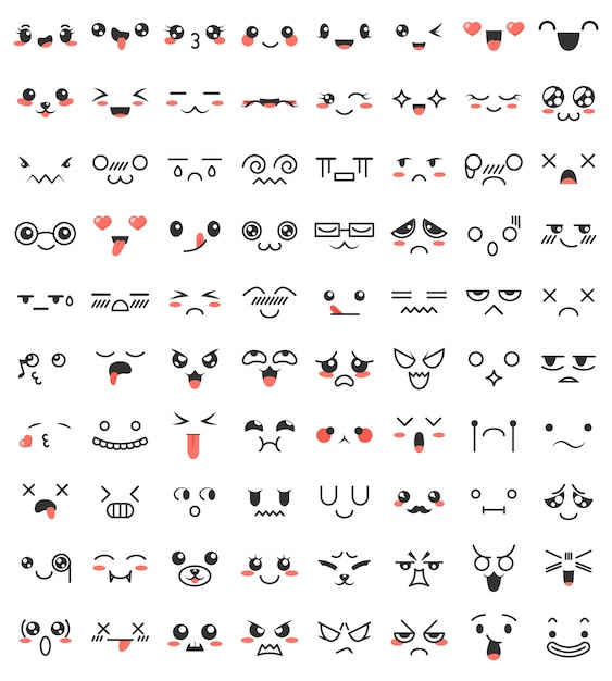 Collection of cute lovely kawaii eyes and mouths. Premium Vector