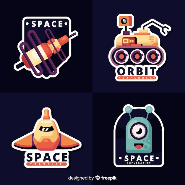 Collection of cute space stickers Free Vector