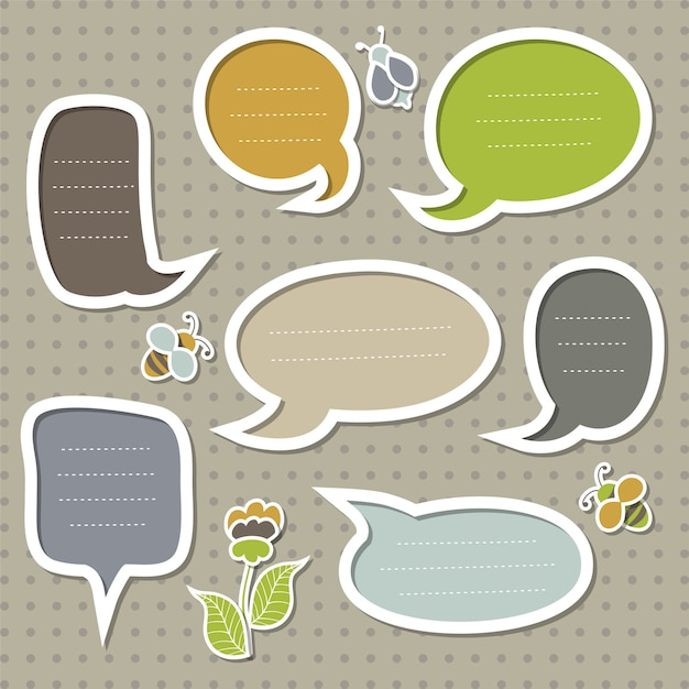Collection of cute speech bubbles with bees and flowers. Premium Vector