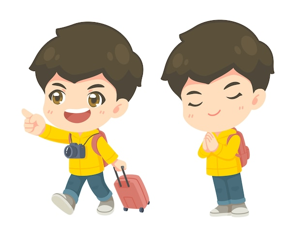 Collection of cute tourism boy in many pose Premium Vector