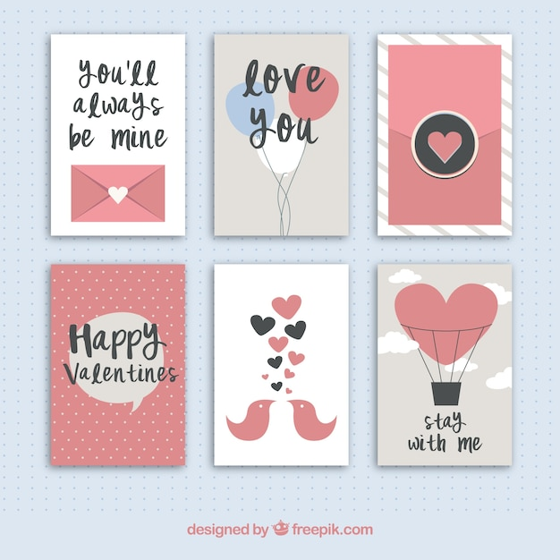 Collection of cute valentines day cards Free Vector
