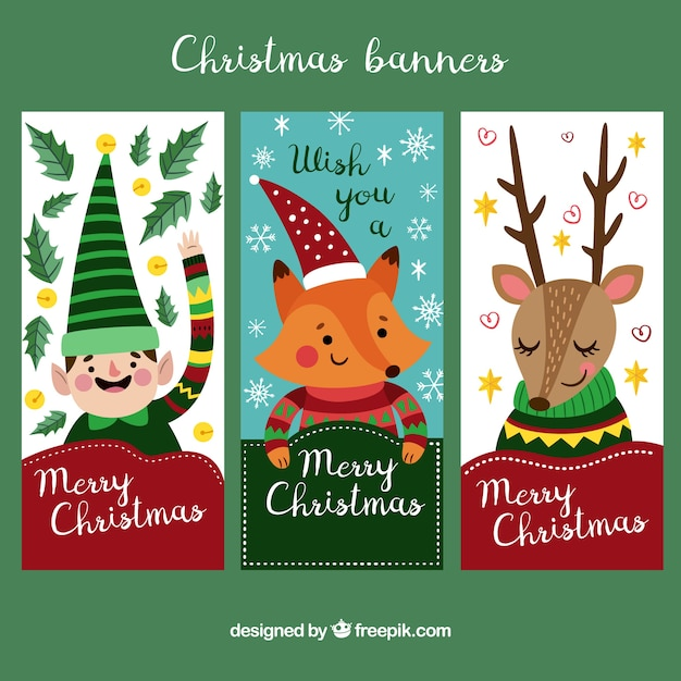 Christmas Banners.Collection Of Cute Vertical Christmas Banners Vector Free