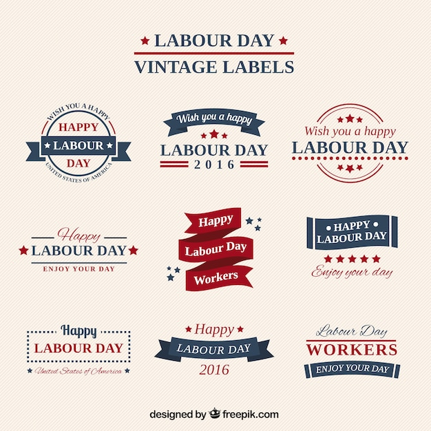 Collection cute vintage labor day stickers Premium Vector