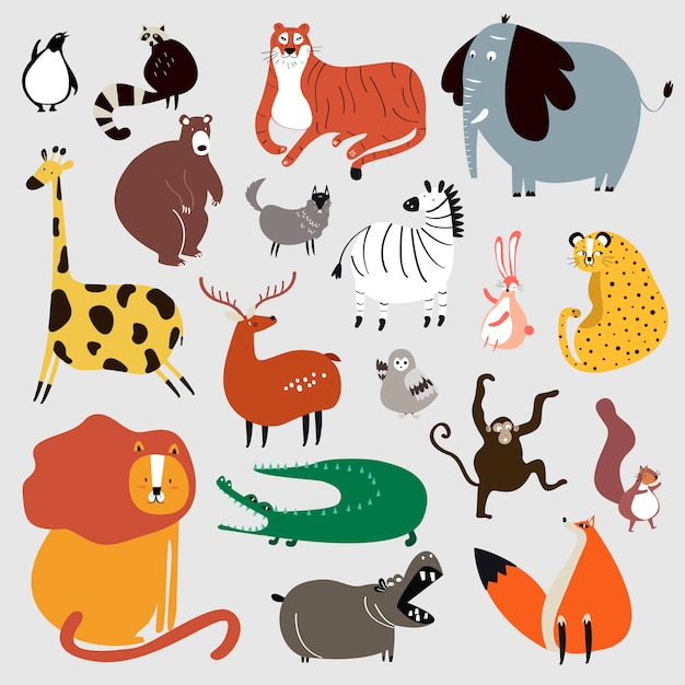 Collection of cute wild animals in cartoon style vector Free Vector