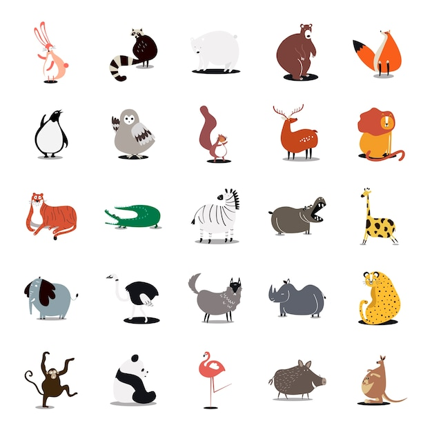 Collection of cute wild animals illustrations Free Vector
