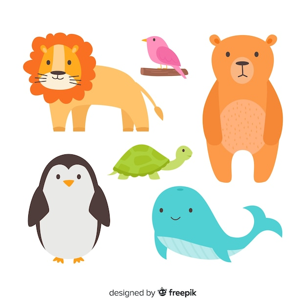 Collection of cute and wild drawn animals Free Vector