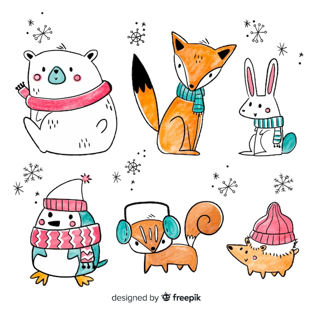 Collection of cute winter animales Free Vector