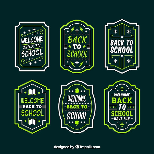 Collection of dark back to school labels Free Vector