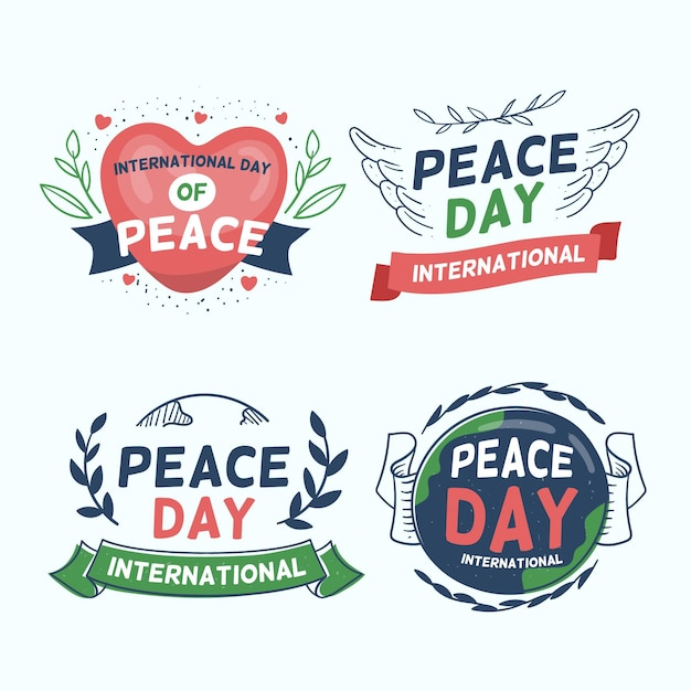 Collection of day of peace badges Free Vector