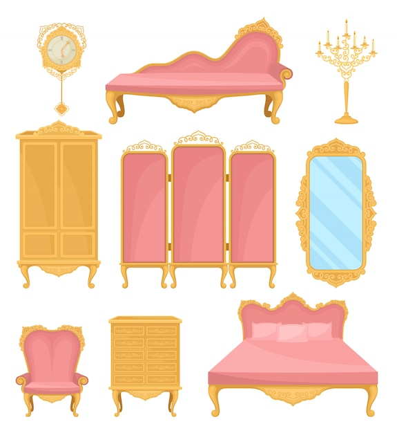 Collection decor element for living room. princess furniture. Premium Vector