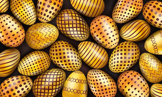 Collection of decorated golden easter eggs on black background Premium Vector