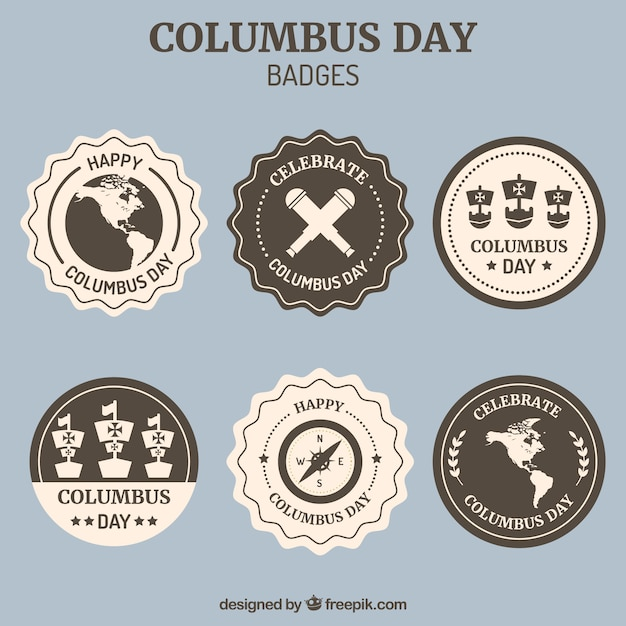 Collection of decorative badges for columbus day Free Vector