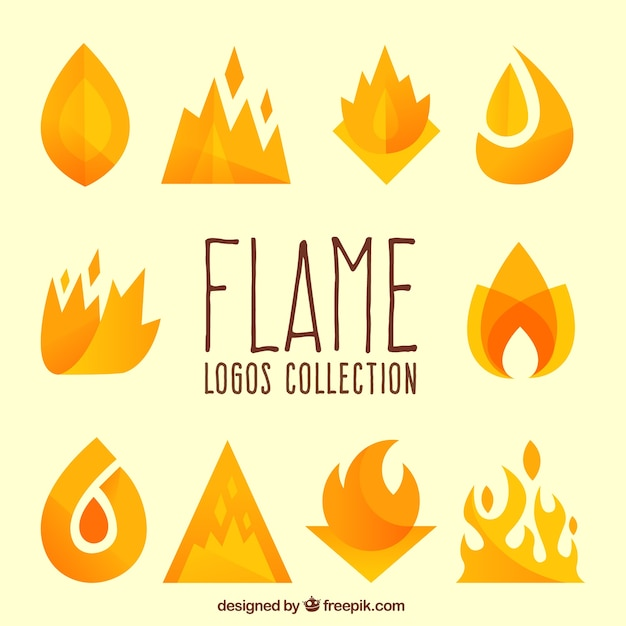 Collection of decorative flames for logos Premium Vector