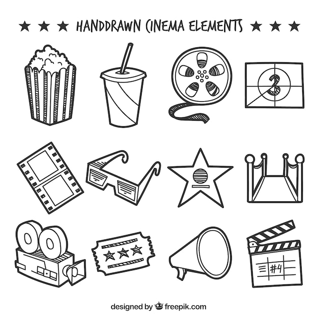 Collection of decorative hand-drawn cinema elements Free Vector