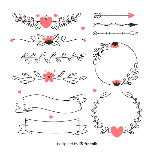 Collection of decorative hand drawn wedding ornaments Free Vector