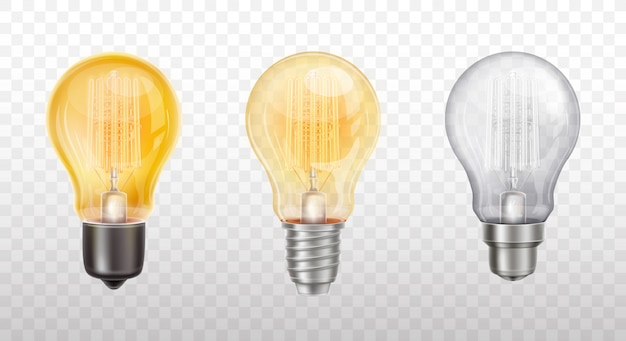 Collection of decorative light bulbs, lamps Free Vector