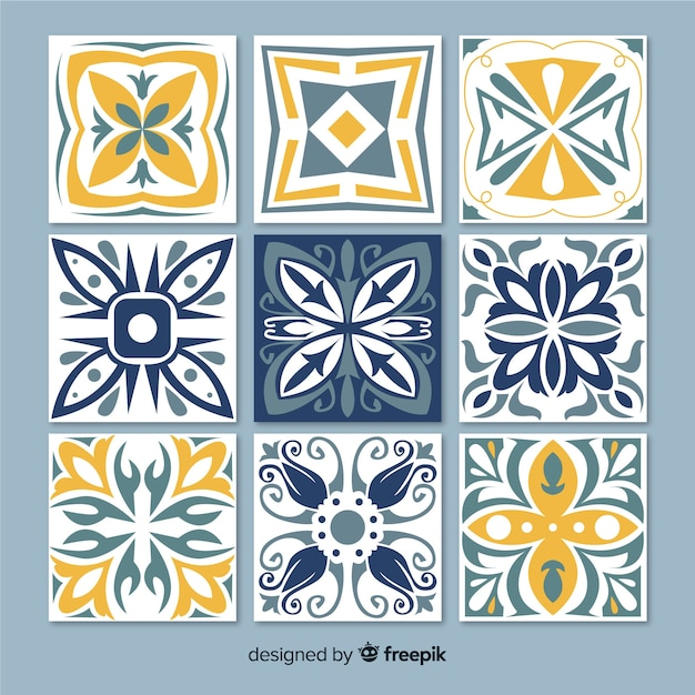 Collection of decorative tiles Free Vector