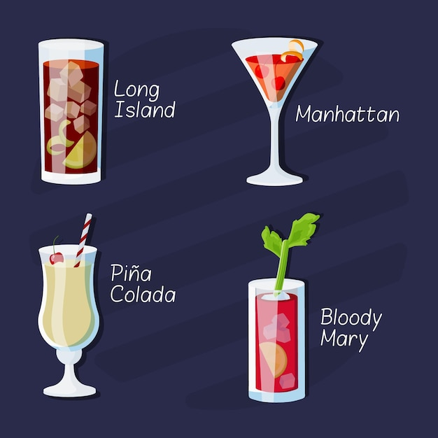 Collection of delicious drawn cocktails Free Vector