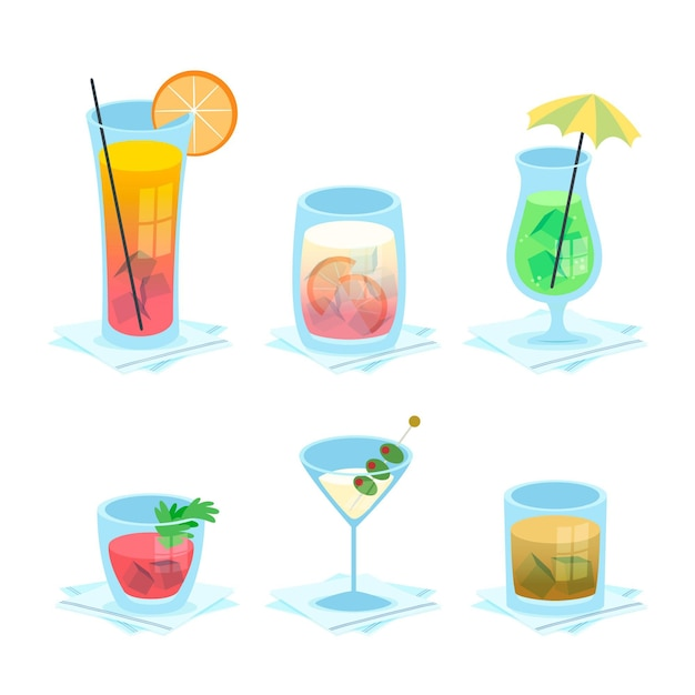 Collection of delicious hand drawn cocktails Free Vector