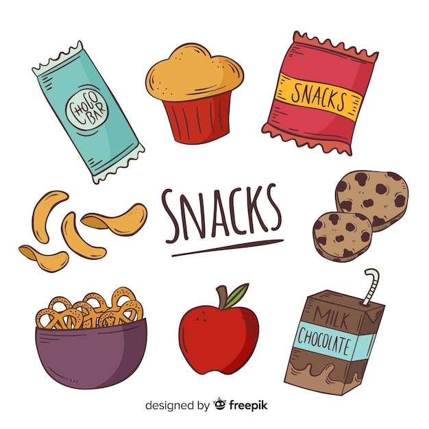 Collection of delicious snacks Free Vector