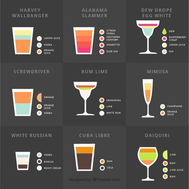 Collection of delicious summer cocktail Free Vector