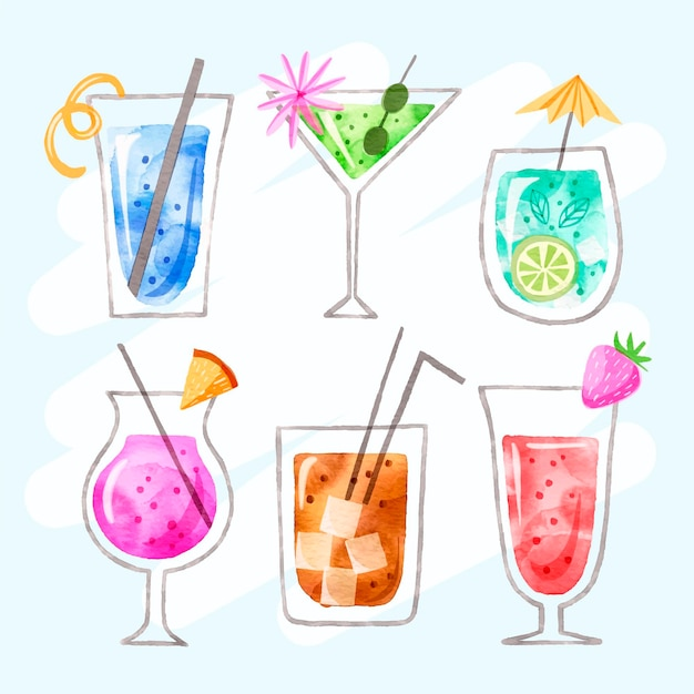 Collection of delicious watercolor cocktails Free Vector