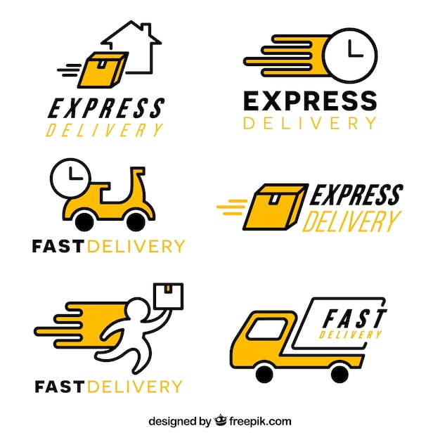 Collection of delivery logo templates Free Vector