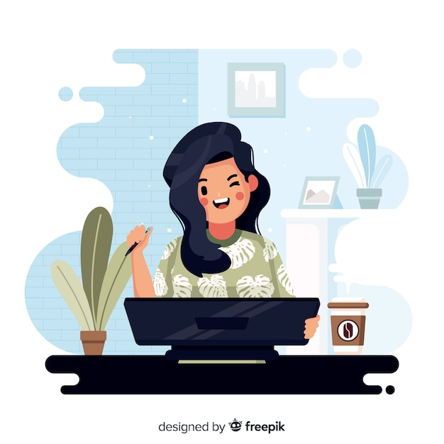 Collection of designer at work Free Vector