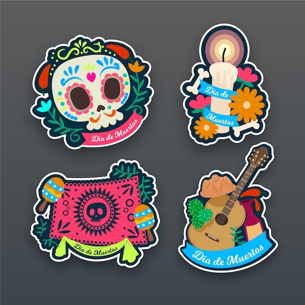 Collection of dia de muertos badge in flat design Free Vector