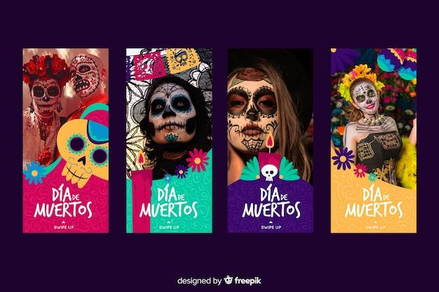 Collection of dia de muertos instagram stories Free Vector